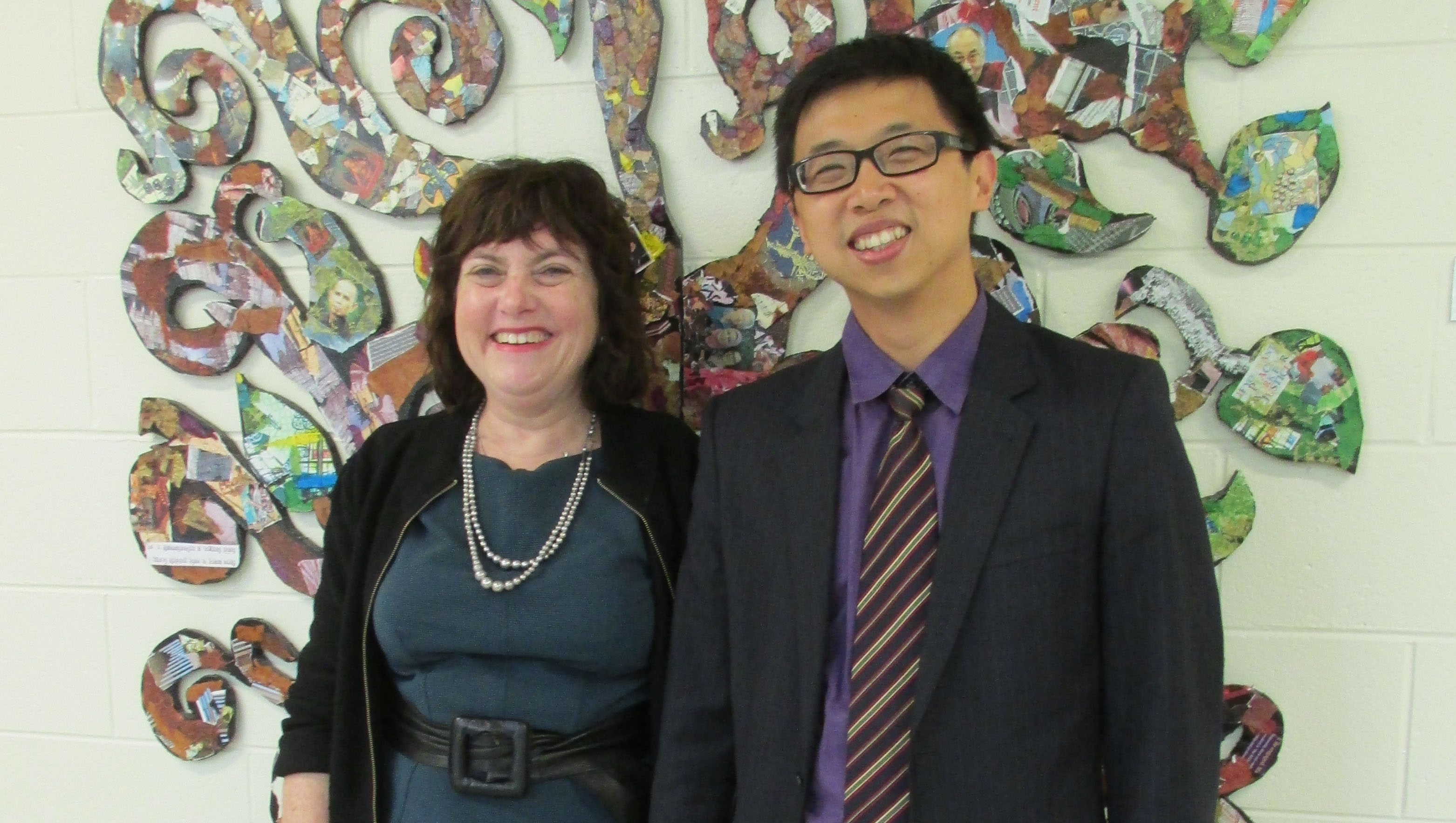 Clare Cavanagh welcomes Tony Lin before his presentation on October 2, 2015